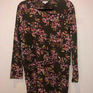 J. Jill Gray Pink Floral Top Layered Tunic Large